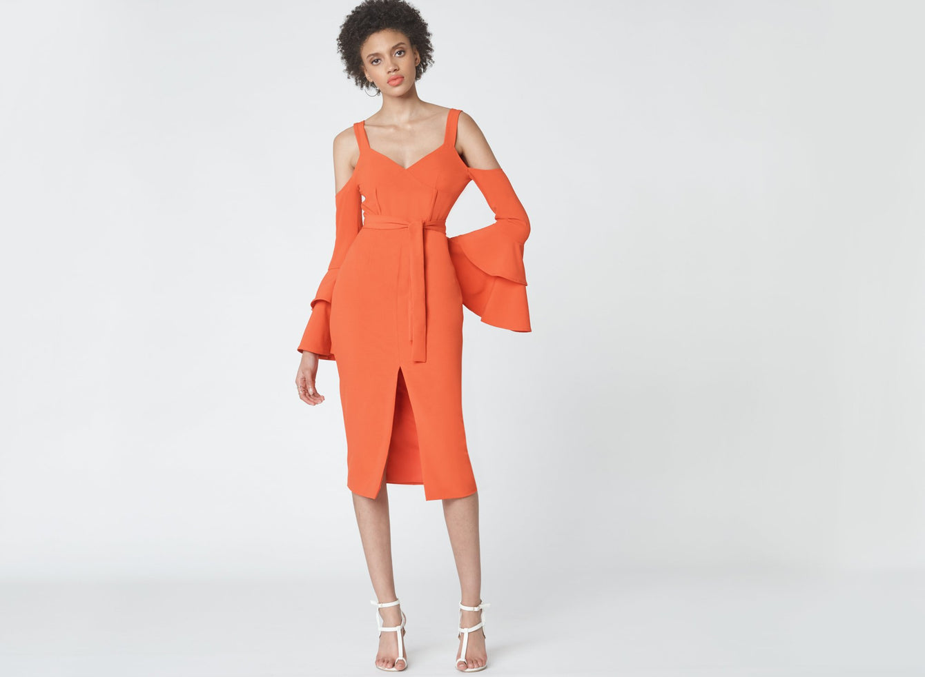Ruffle Sleeve Cold Shoulder Dress in Flame Orange