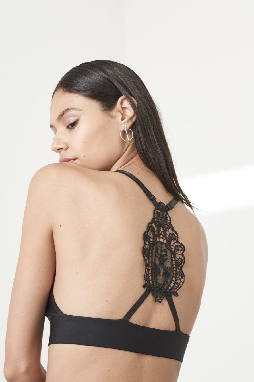 Black Crochet Back Detail Bralet