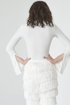 White Rib Knit Open Keyhole Neck Wrap Around Belt Split Sleeve Body