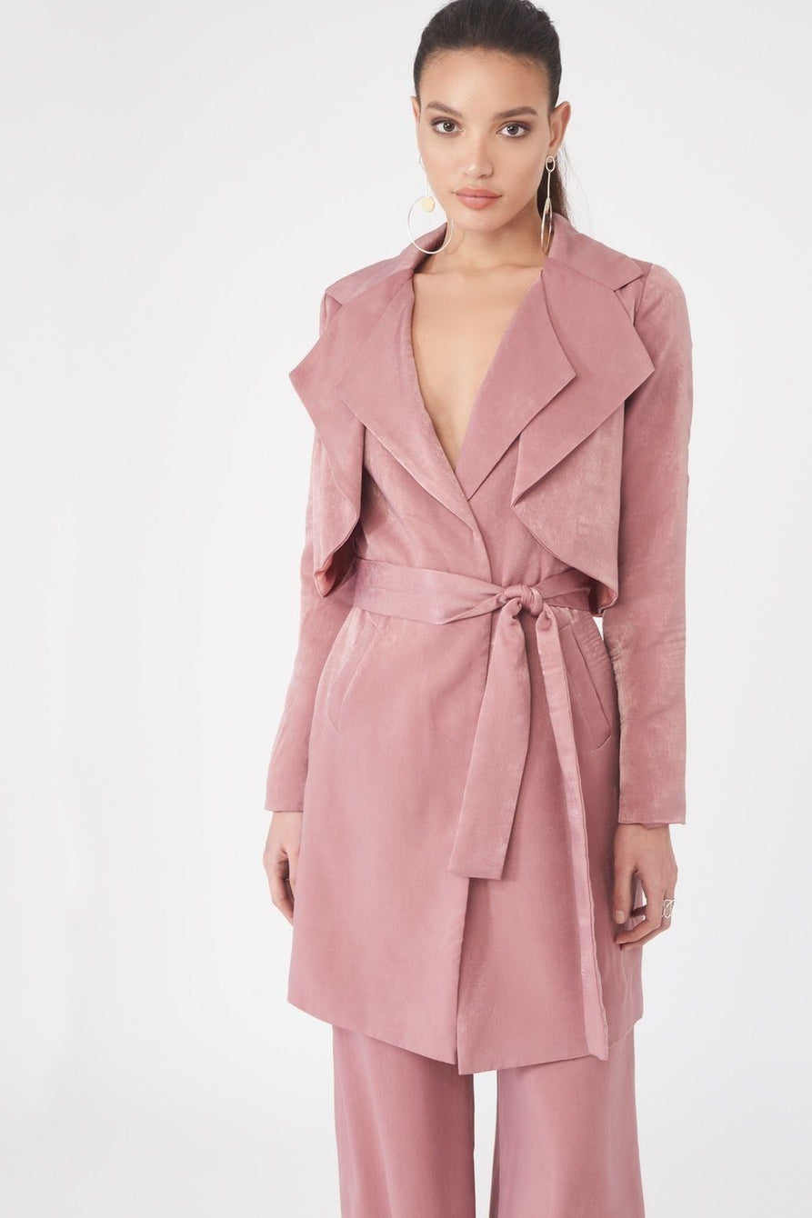 Double Layer Satin Trench Coat