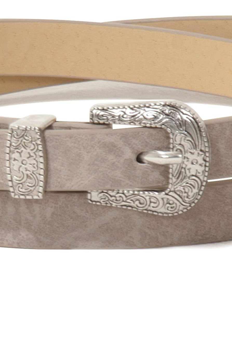 Grey Silver Western Buckle Slim Belt