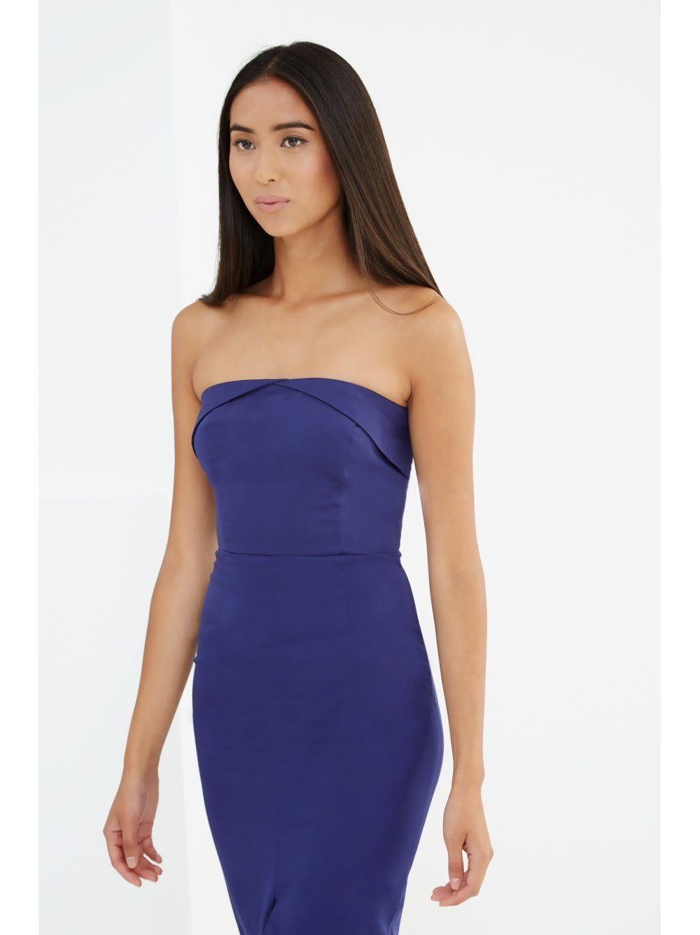 Navy Bandeau Centre Split Bodycon Midi Dress