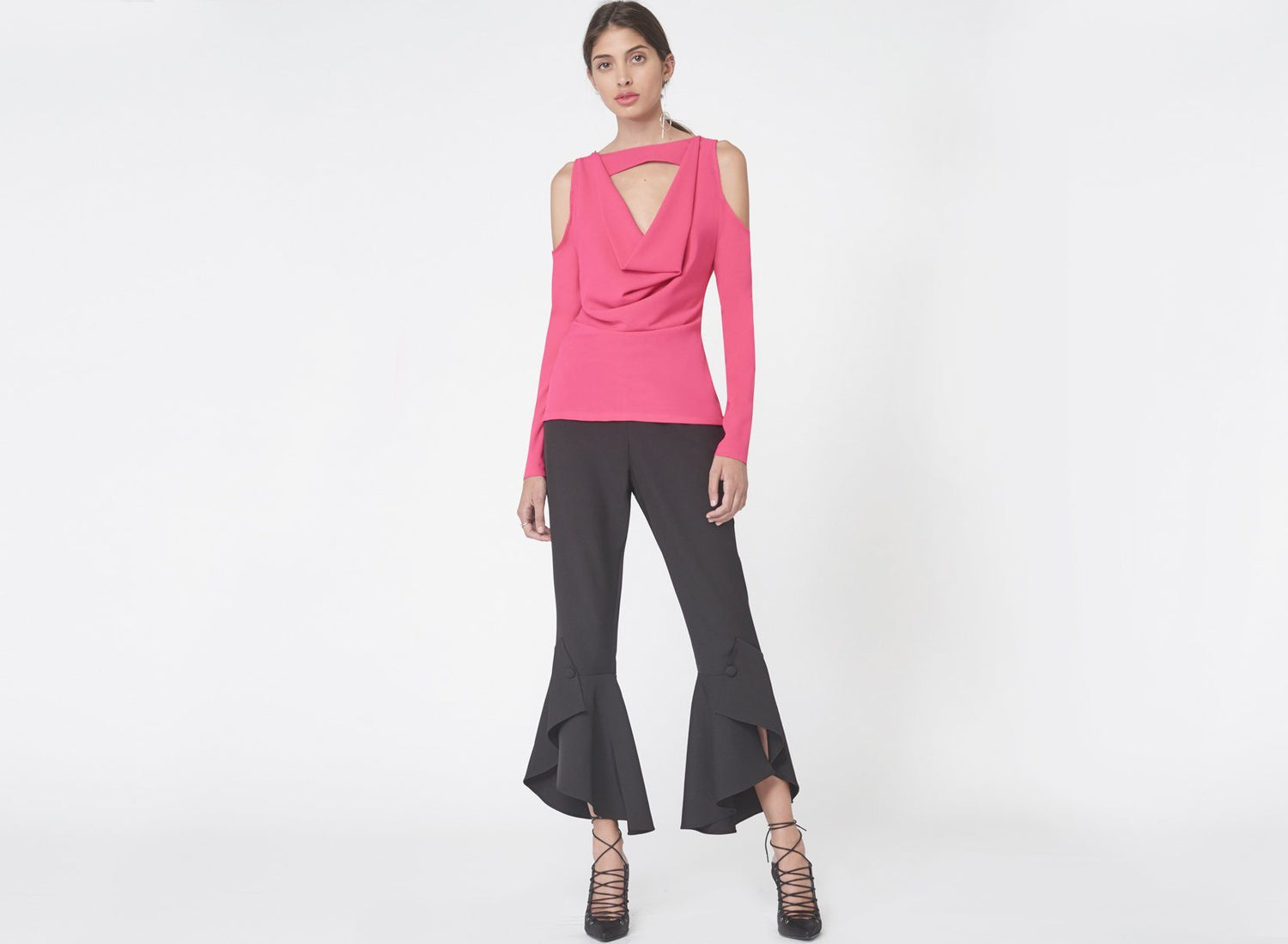 Cold Shoulder Cowl Neck Top in Fuchsia Pink