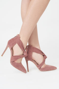 Suede Knot Detail Stiletto in Pink