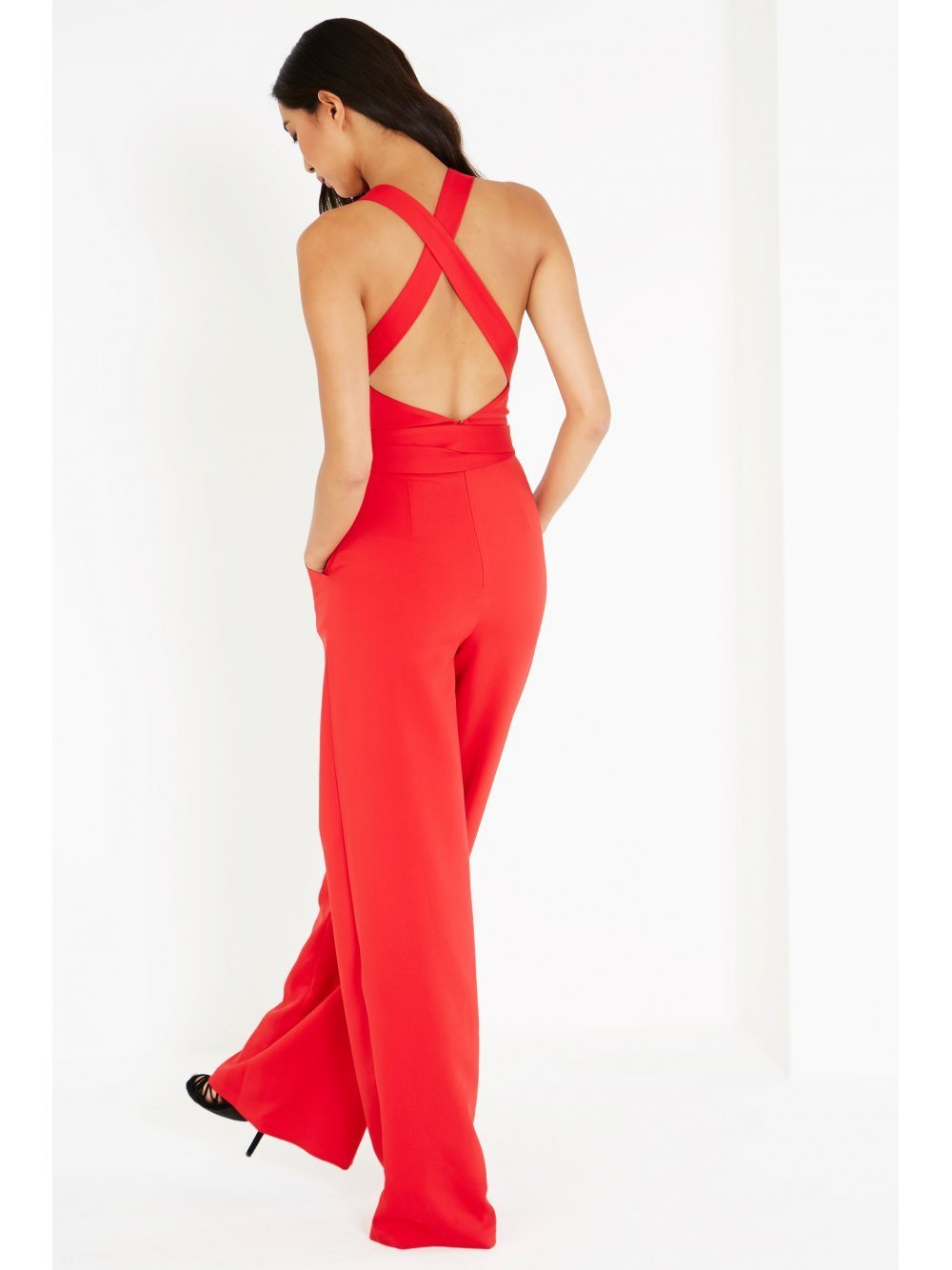 Red Cross Strap Tie Detail Straight Leg Jumpsuit