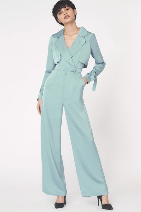 Wide Leg Trench Jumpsuit in Teal Satin