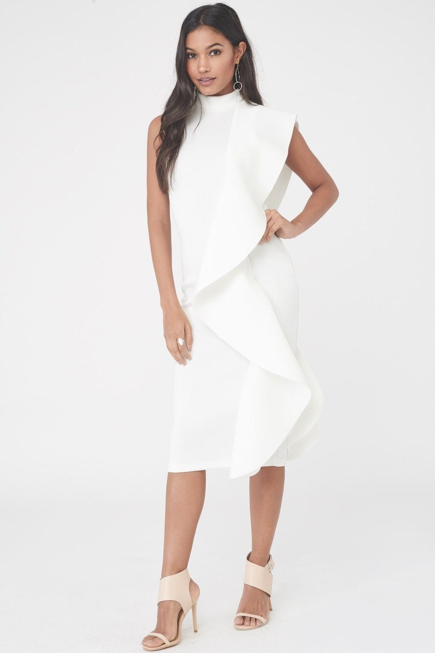 Scuba Frilled Midi Dress