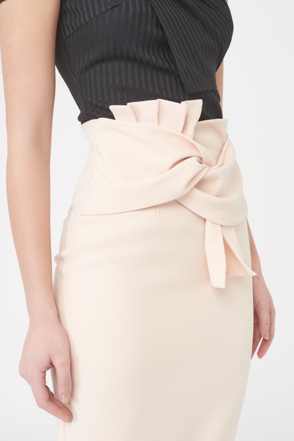 Twisted Bow Midi Skirt