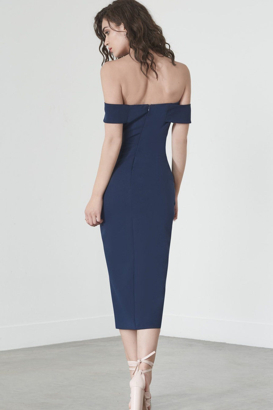 Knot-Front Bardot Dress in Navy