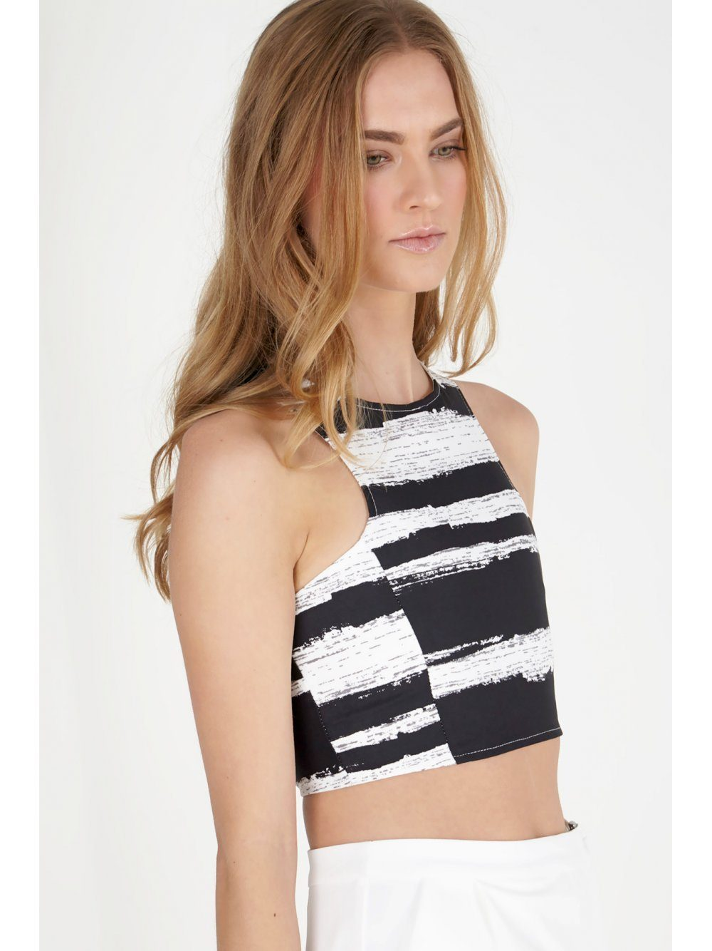 Black & White Distorted Stripe Print Crossover Strap Crop Top