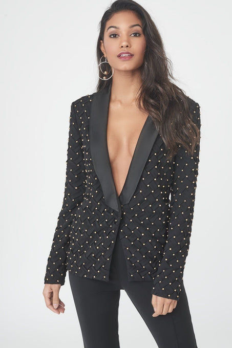 Lattice Pleated and Beaded Tuxedo Jacket