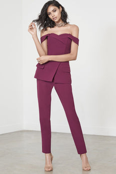 Wine Purple Off The Shoulder Tuxedo Style Jumpsuit