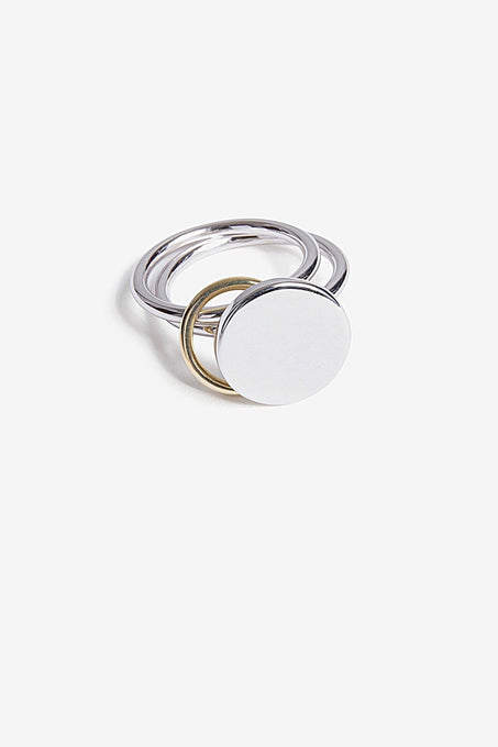 Double Band Signet Ring in Gold Plated Sterling Silver