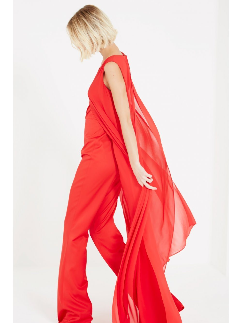 Red Sheer Chiffon Overlay V-Neck Flared Leg Jumpsuit