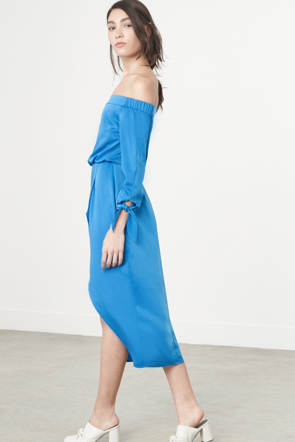 Tie Cuff Bardot Dress in Cerulean Blue Satin