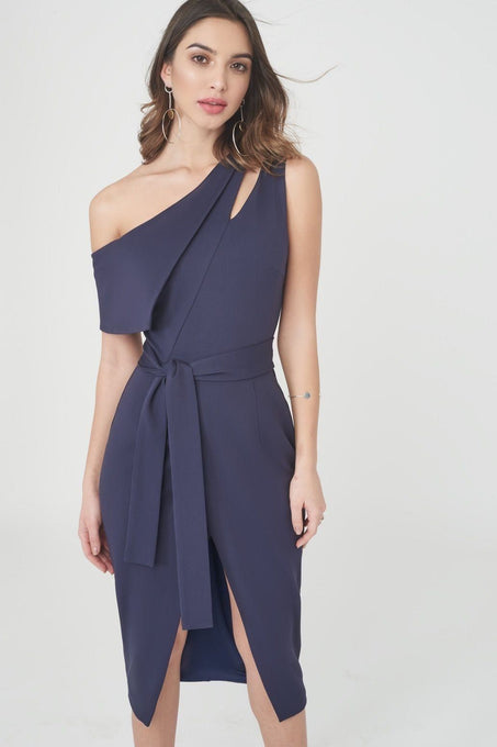 Asymmetric Dress with Tie Belt