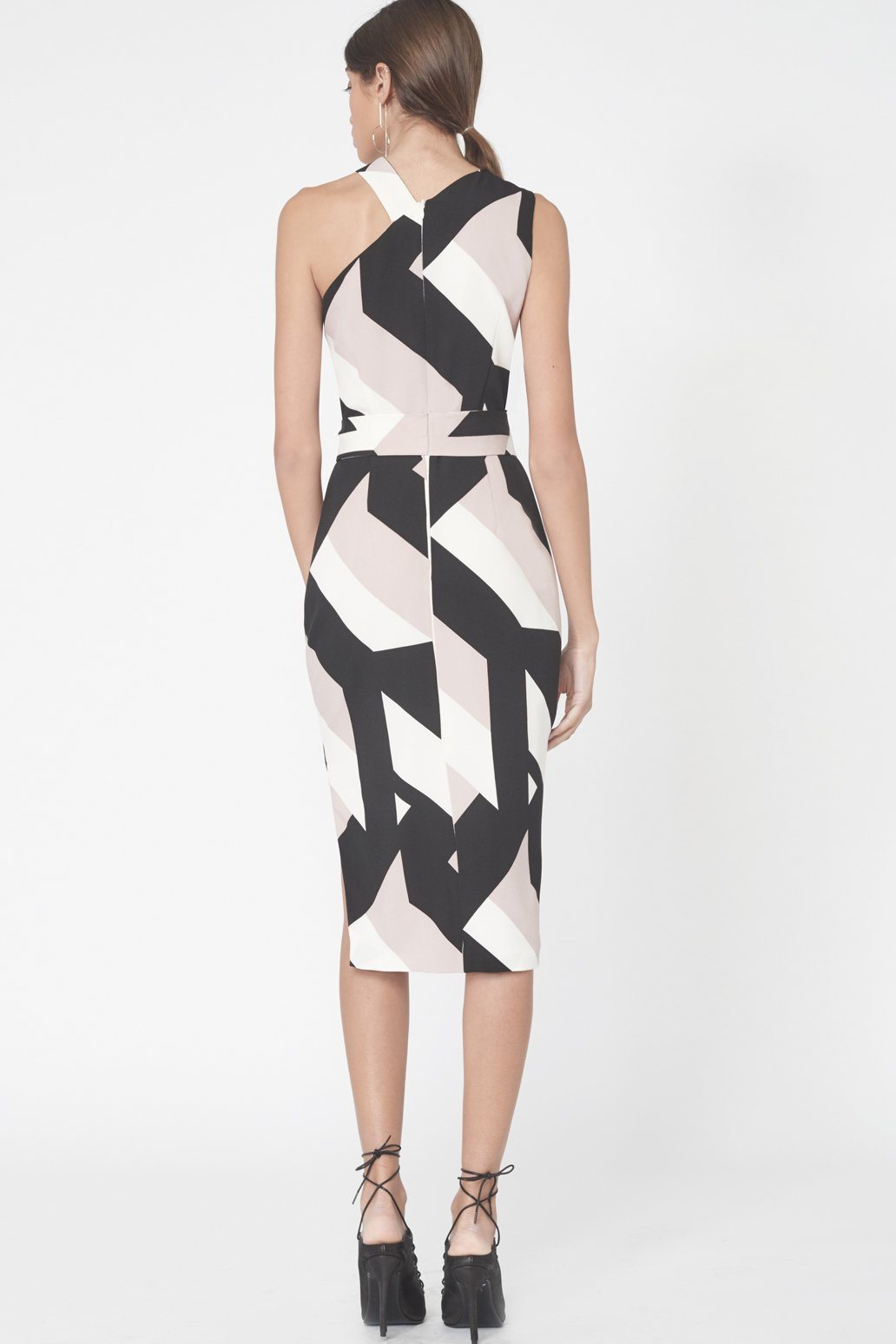 Asymmetric Halterneck Abstract Print Dress