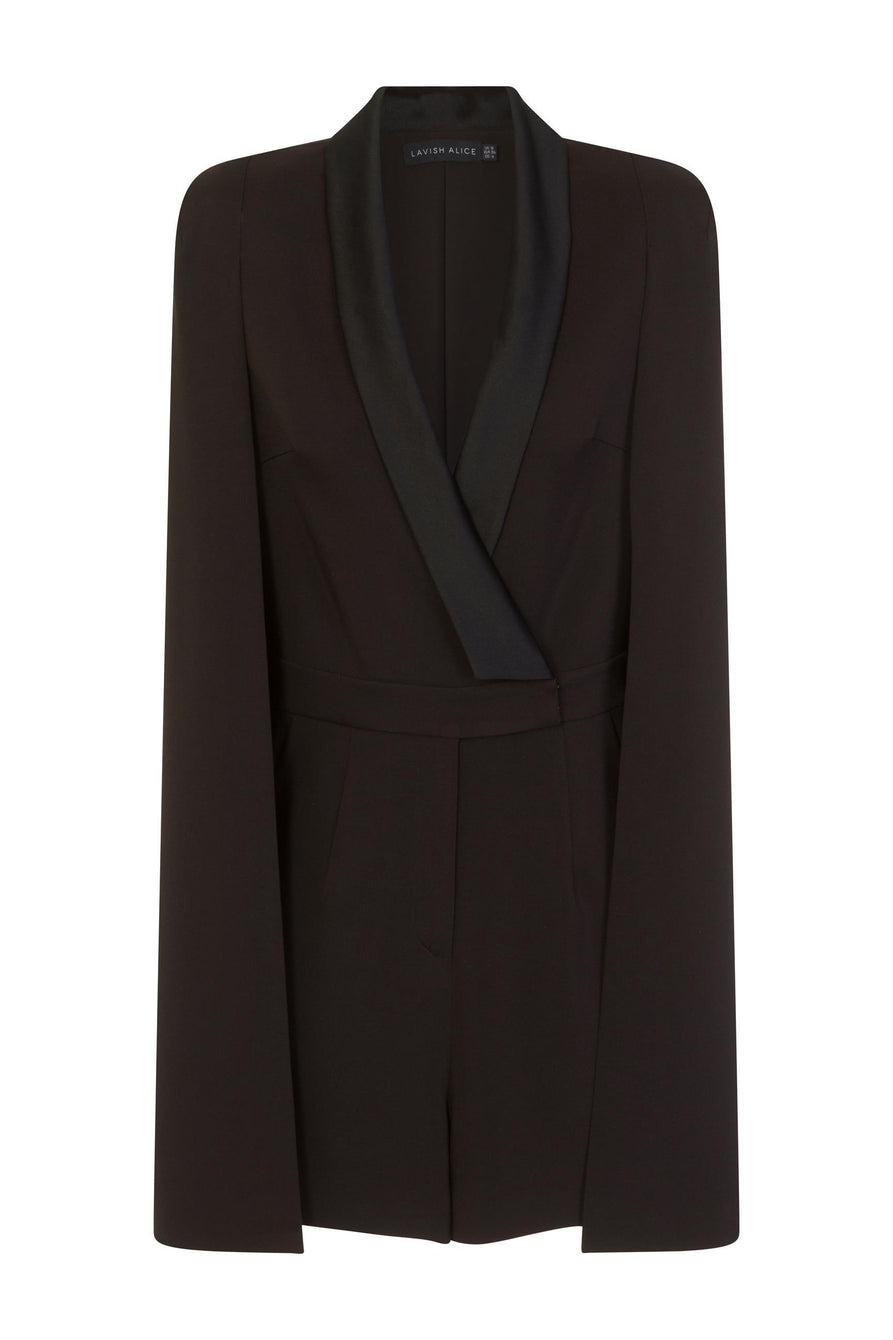 Tailored Cape Playsuit with Satin Lapel