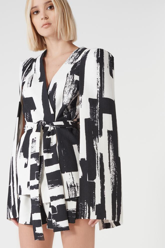 Monochrome Brush Print Split Back Tie Front Cape Blazer