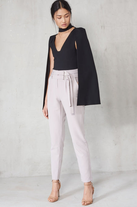 Grey Double Belted Tailored Trousers