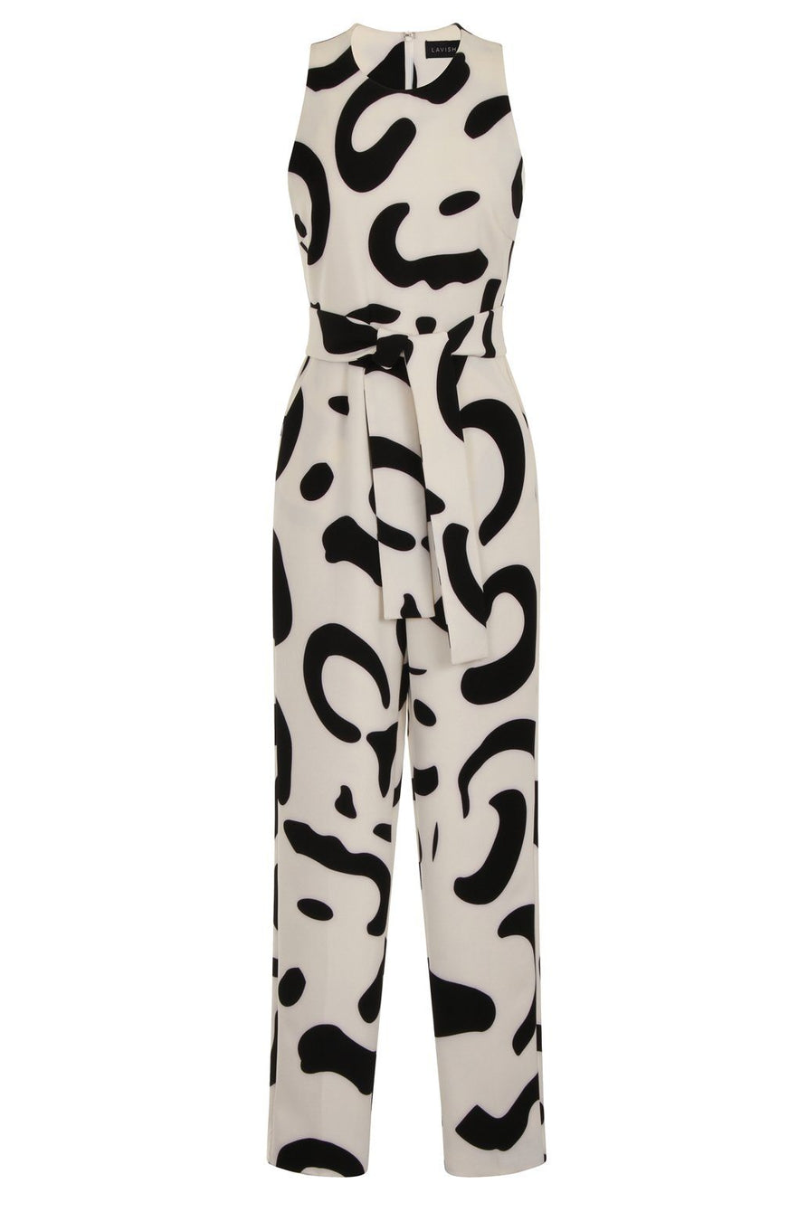 Monochrome Abstract Print High Neck Tie Front Jumpsuit