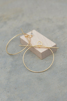 Sterling Silver Gold Plated Hoop Bar Oversized Earrings