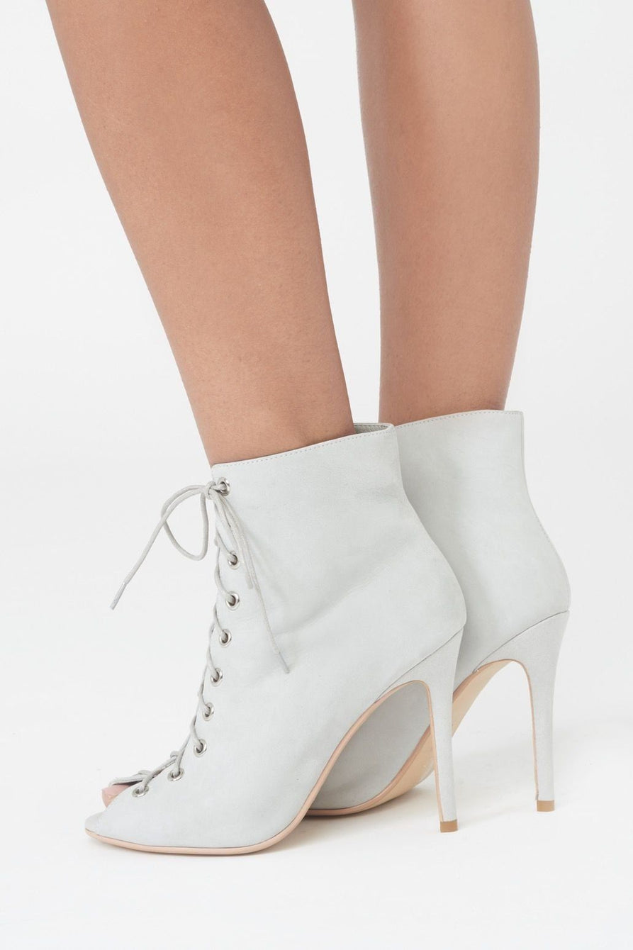Lace Up Stiletto Ankle Boots in Grey Suede