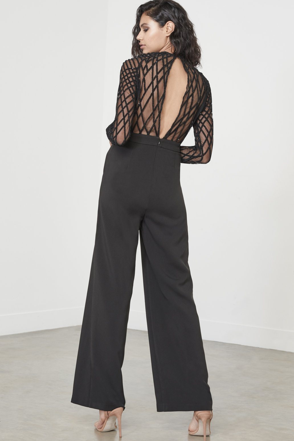 Black Cross Hatch Velvet Sequin Mesh Jumpsuit
