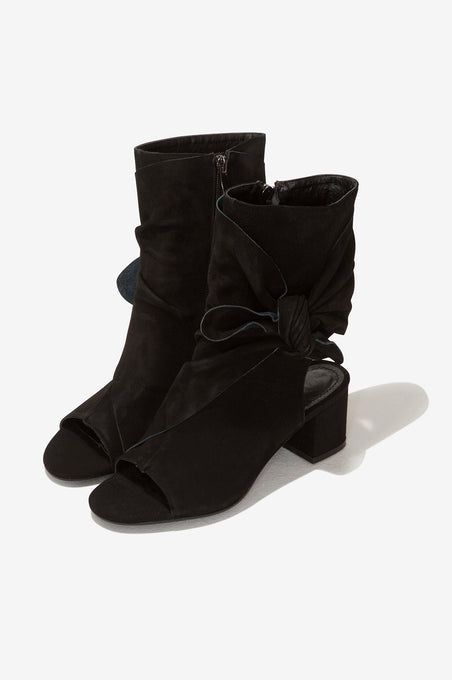 Suede Open Toe Ankle Boots in Black