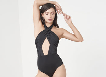 Black Wrap Front Cut Out Swimsuit