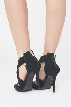 Suede Knot Detail Stiletto in Black
