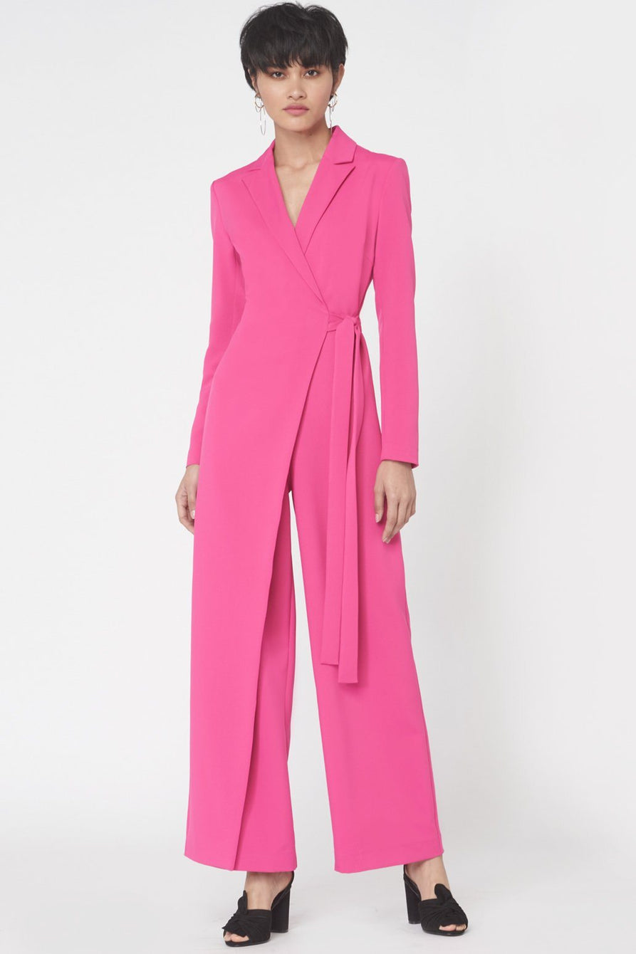 Wrap Over Tailored Jumpsuit in Fuchsia Pink