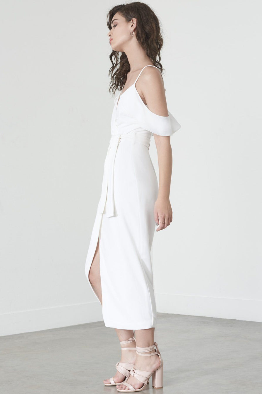 Ruffle Shoulder Dress in White