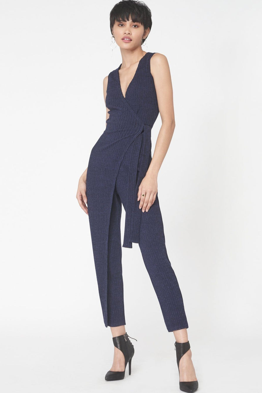 Wrap Over Rib Knit Jumpsuit In Navy