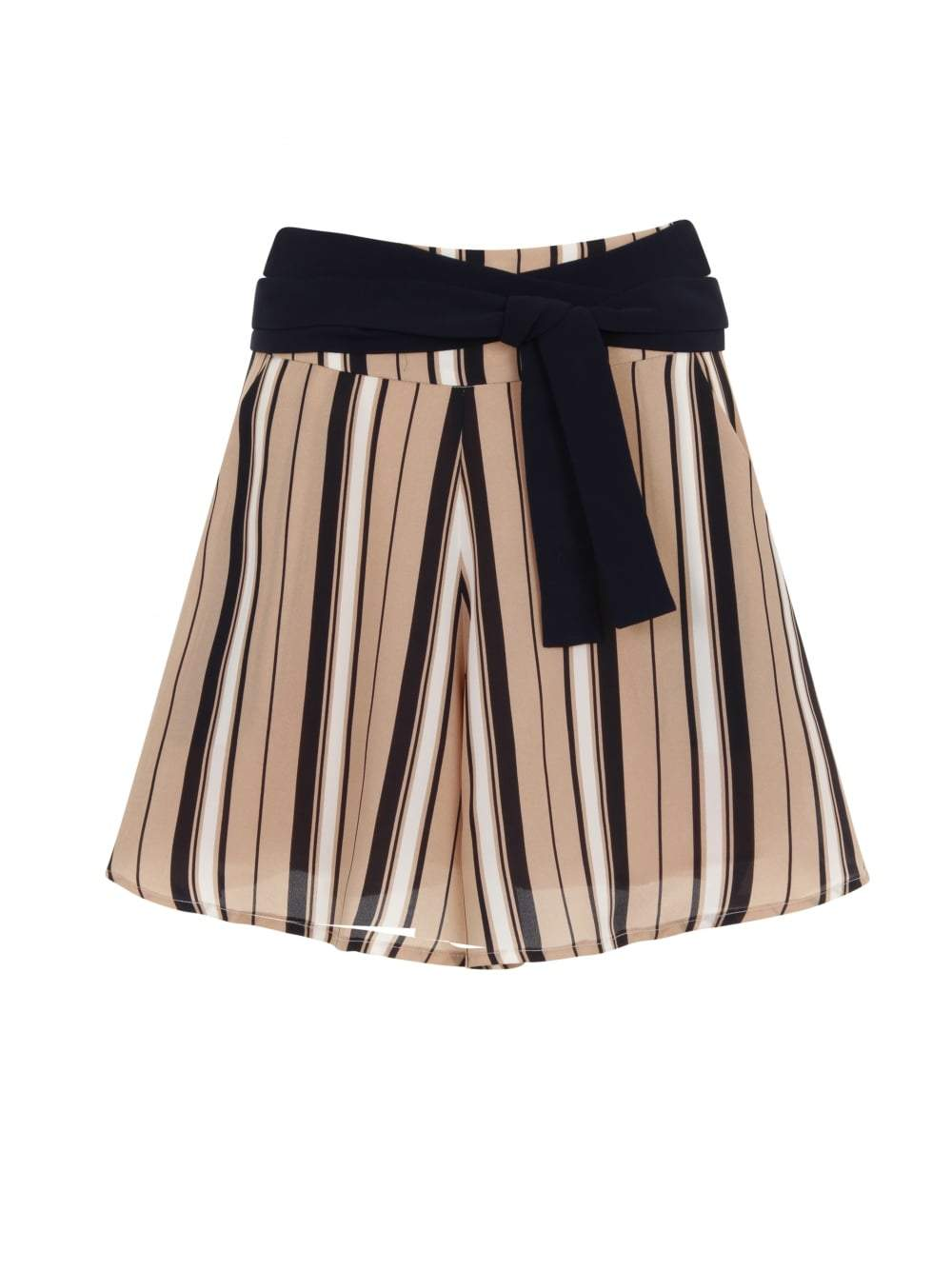 Camel, Navy & White Stripe Print Tie Detail Shorts