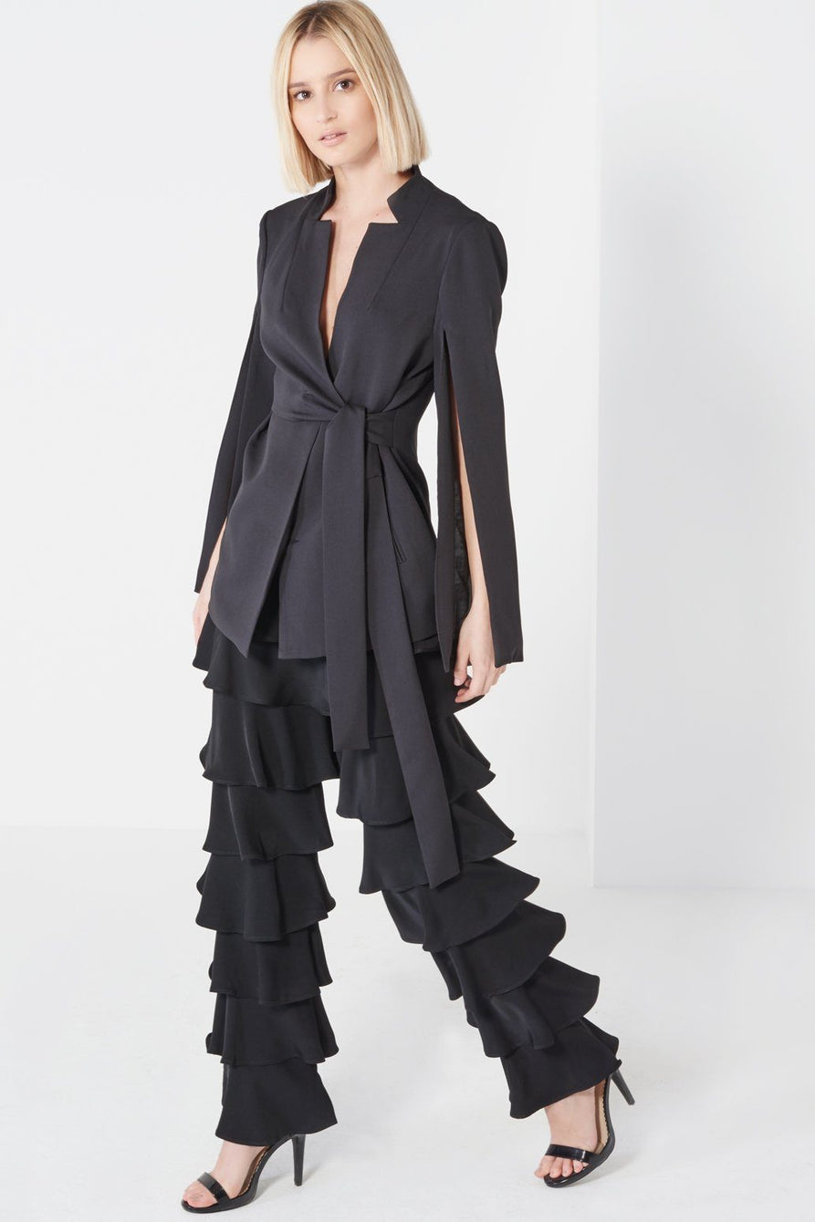 Black Chiffon Layered Frill Trousers