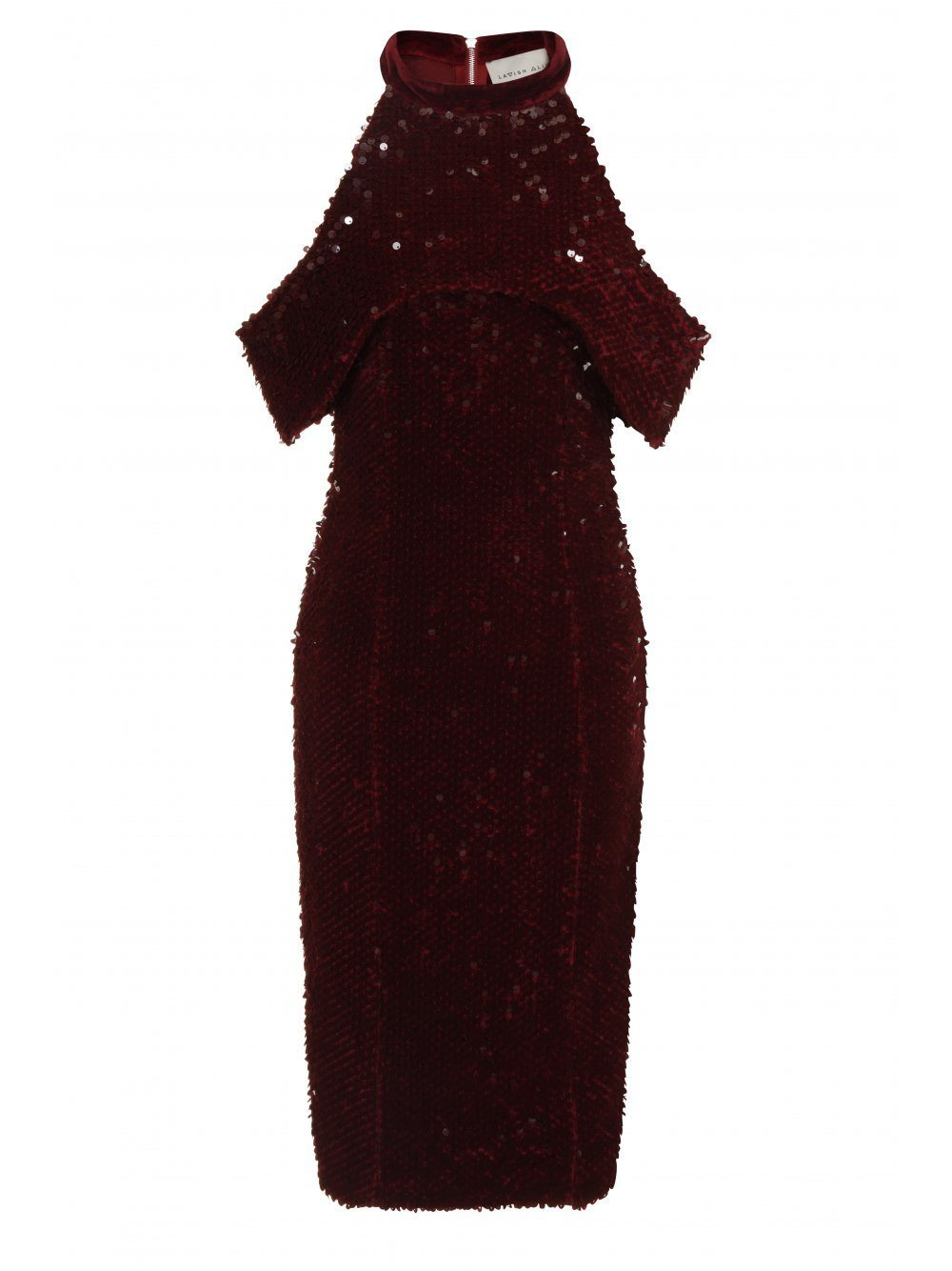 Bordeaux Velvet & Sequin Open Sleeve Midi Dress
