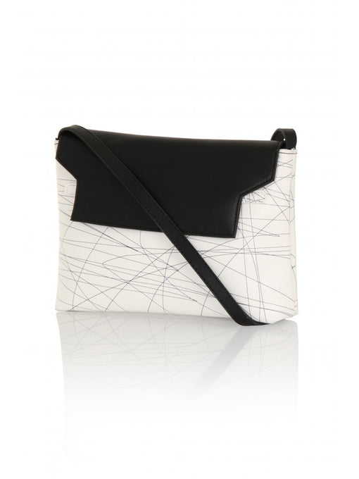 White & Black Graphic Print Cross Body Bag