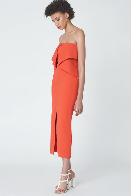 Strapless Origami Dress in Flame Orange