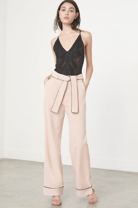 Rose Nude Pyjama Style Belted Wide Leg Trousers