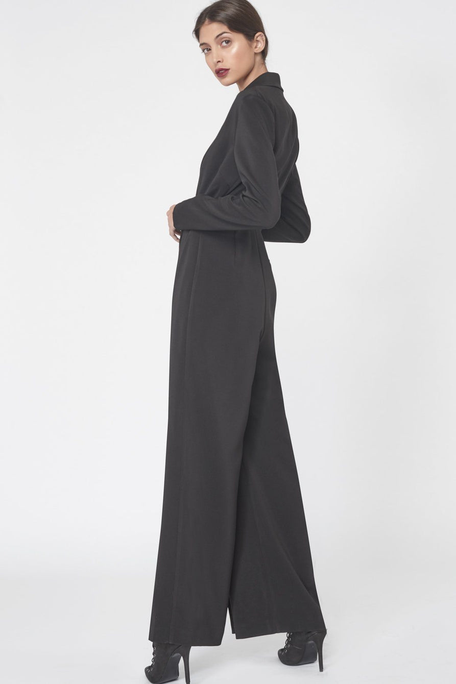 Wrap Over Tailored Jumpsuit in Black