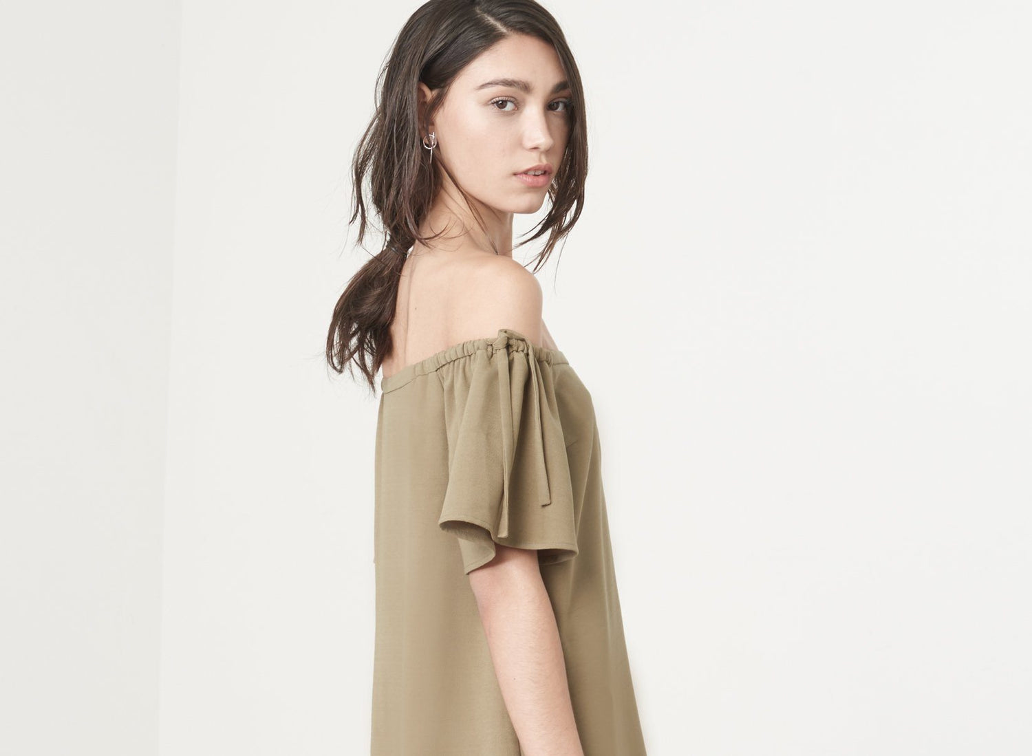 Off the Shoulder Mini Dress in Khaki