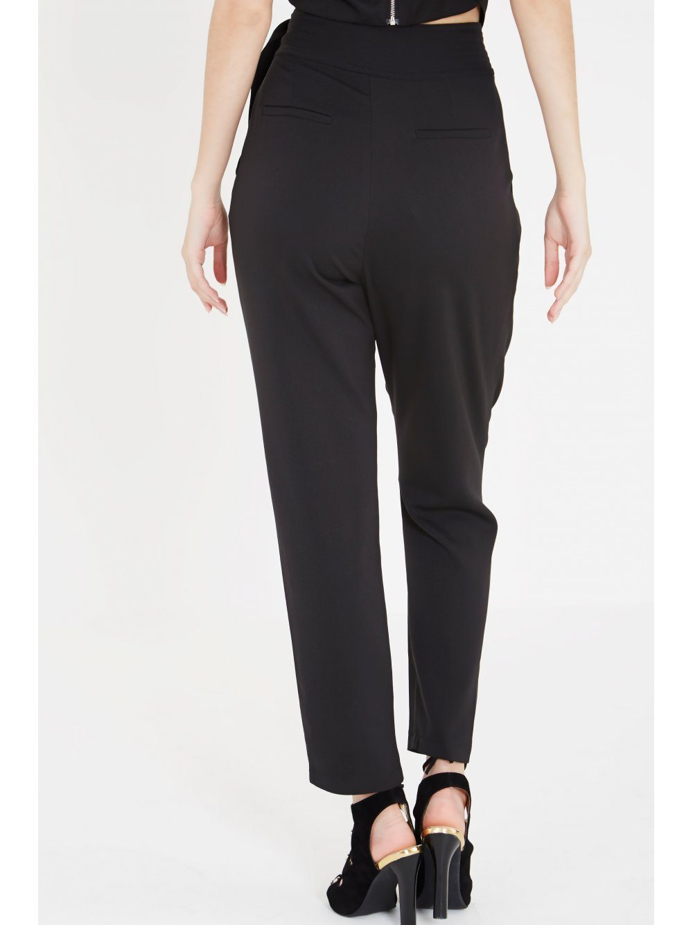 Black Sash Tie Detail Crossover Trousers