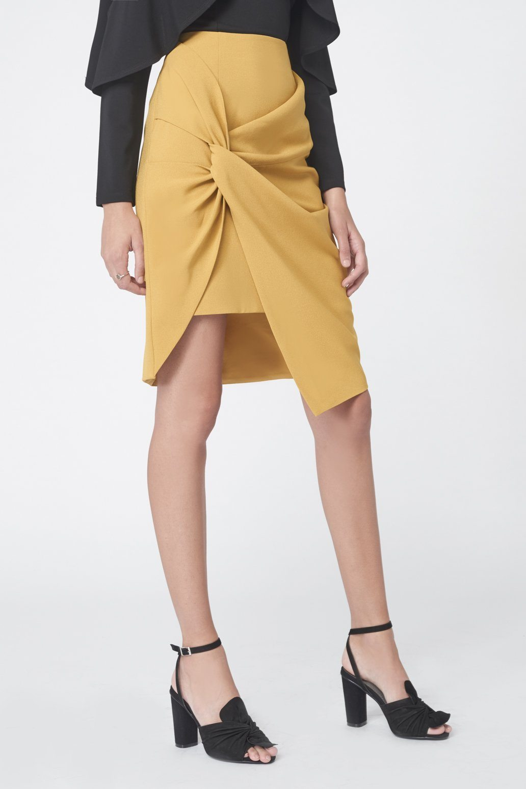 Twist Front Mini Skirt in Olive Yellow