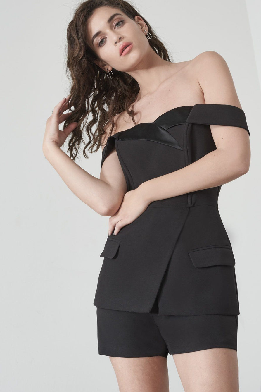 Off The Shoulder Tuxedo Playsuit in Black