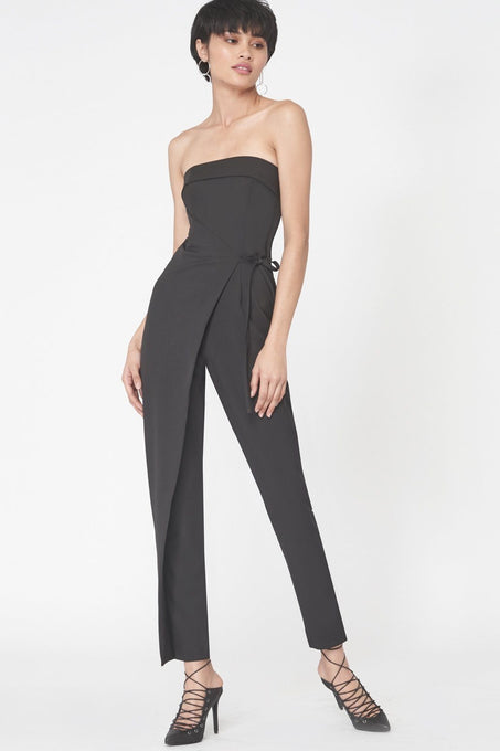 Strapless Wrap Over Jumpsuit in Black