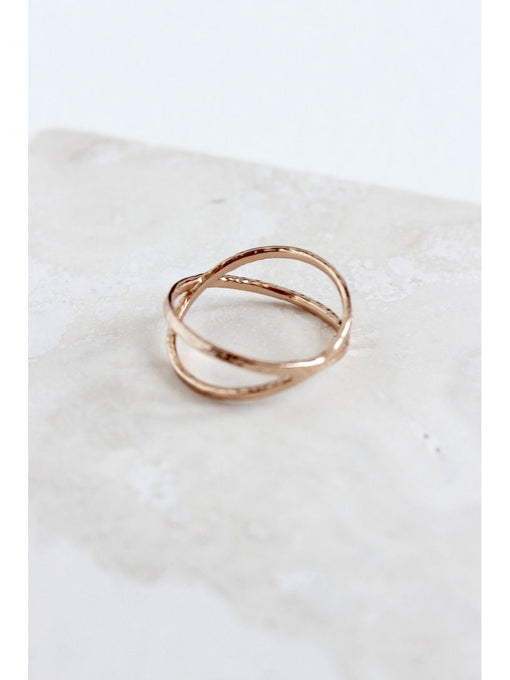 Sterling Silver Rose Gold Plated Hammered Orbit Ring