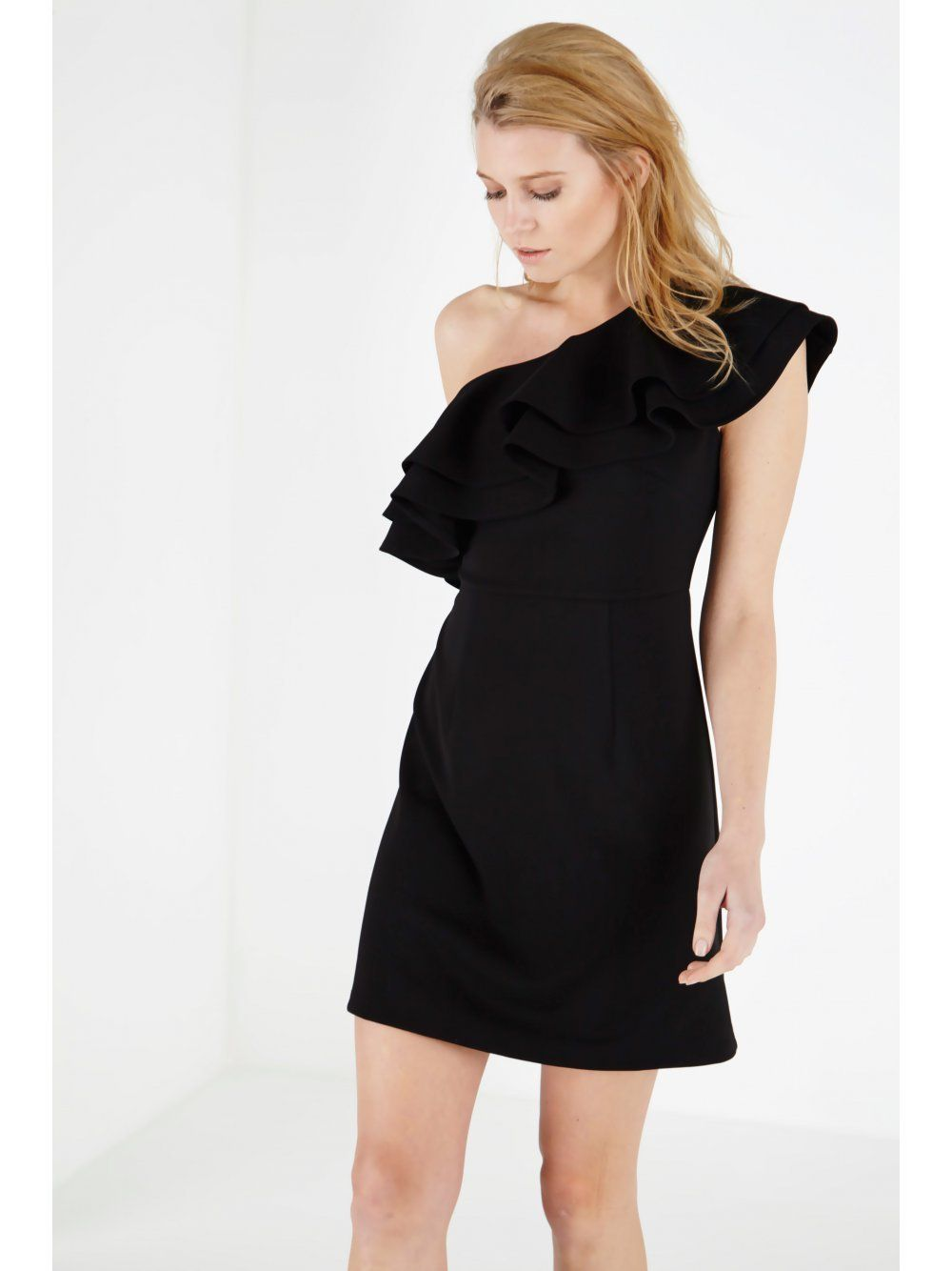 Black Ruffle Shoulder Mini Dress