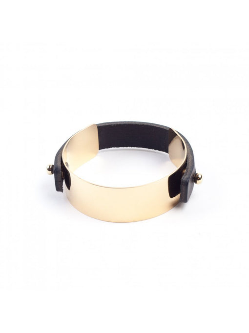 BENE Gold Plated Metal Detachable Leather Strap Slim Cuff