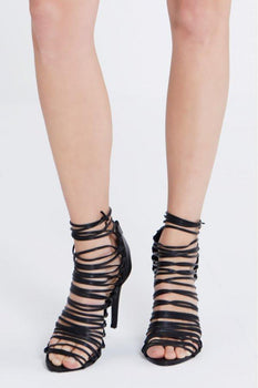 Black Lace Up Heeled Sandals